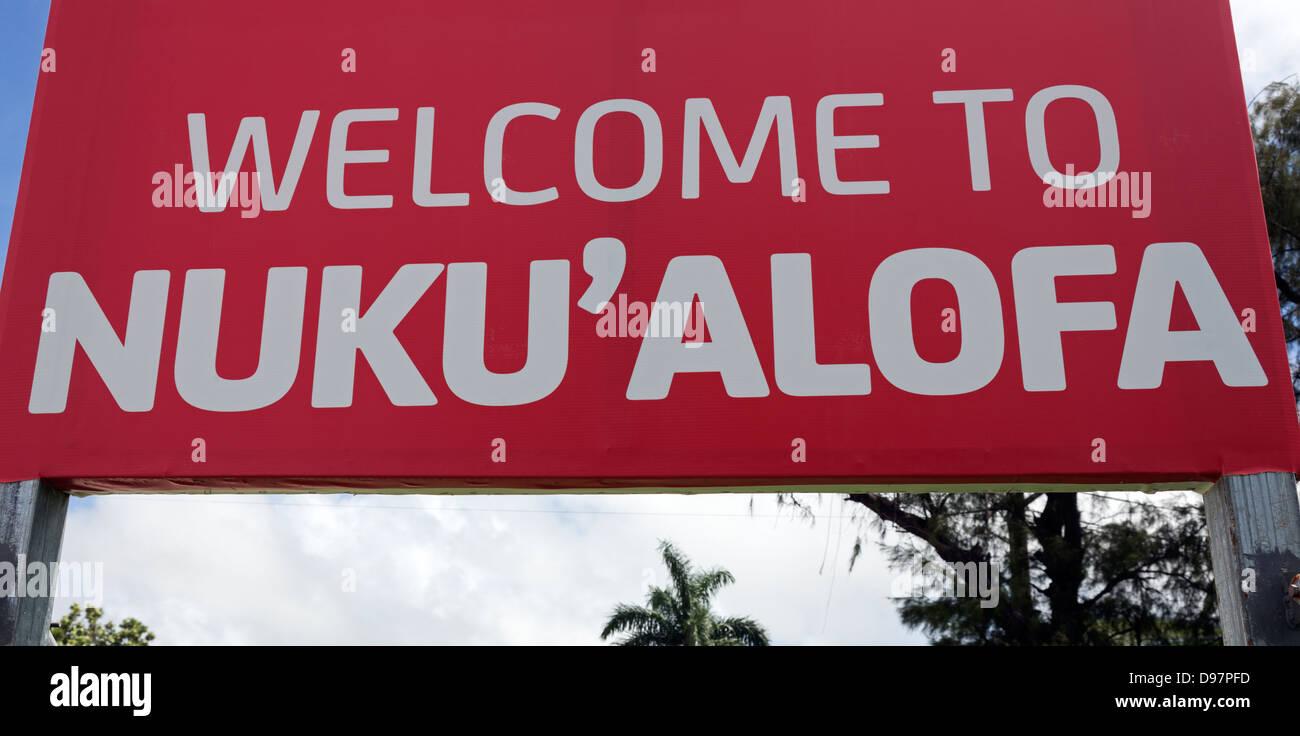 Sign Welcome to Nuku'alofa - the capitol of Tonga Stock Photo