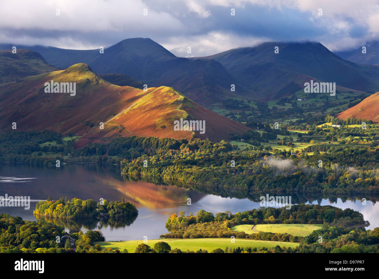 Derwent Water and Catbells mountain, Lake District, Cumbria, England. Autumn (October) 2012. - Stock Image