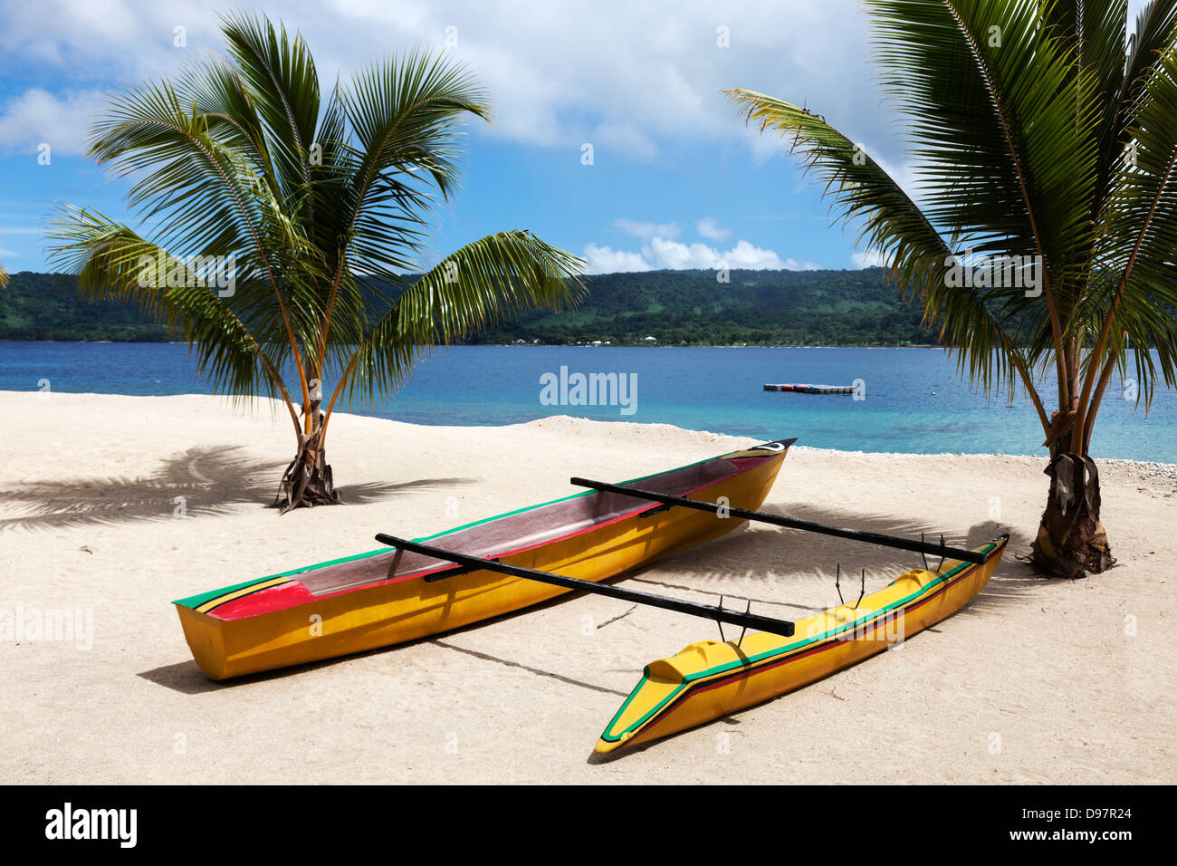 Day on Hideway Island with Efate in the background - Stock Image