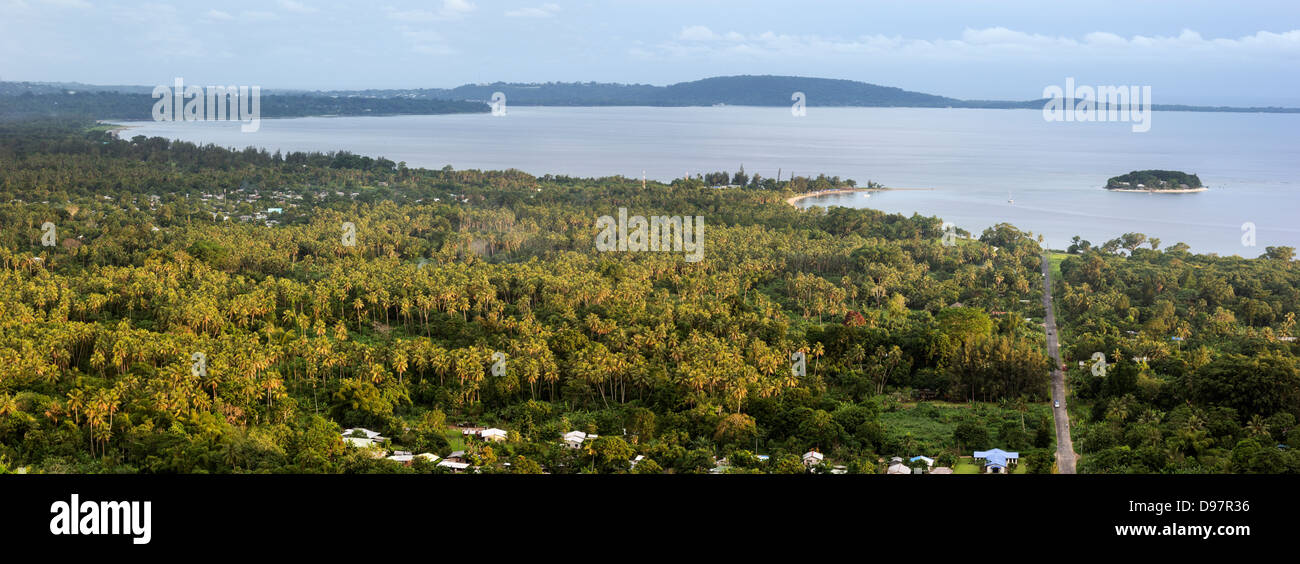 Efate, Vanuatu - afternoon panorama with Hideway Island and Port Vila in the background. - Stock Image