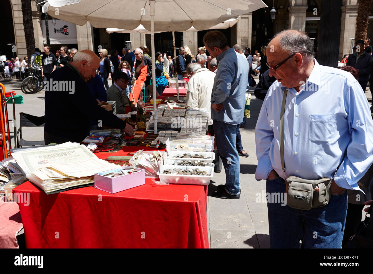 coin and stamp collectors market on sunday in placa reial barcelona catalonia spain - Stock Image