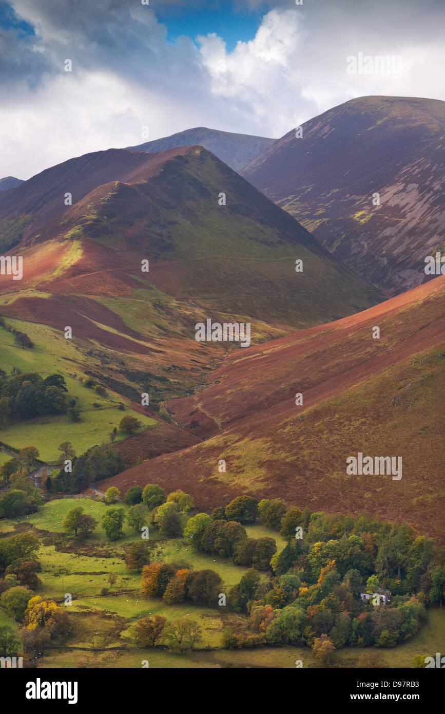 Rigg Beck and Crag Hill, Lake District, Cumbria, England. Autumn (October) 2012. - Stock Image