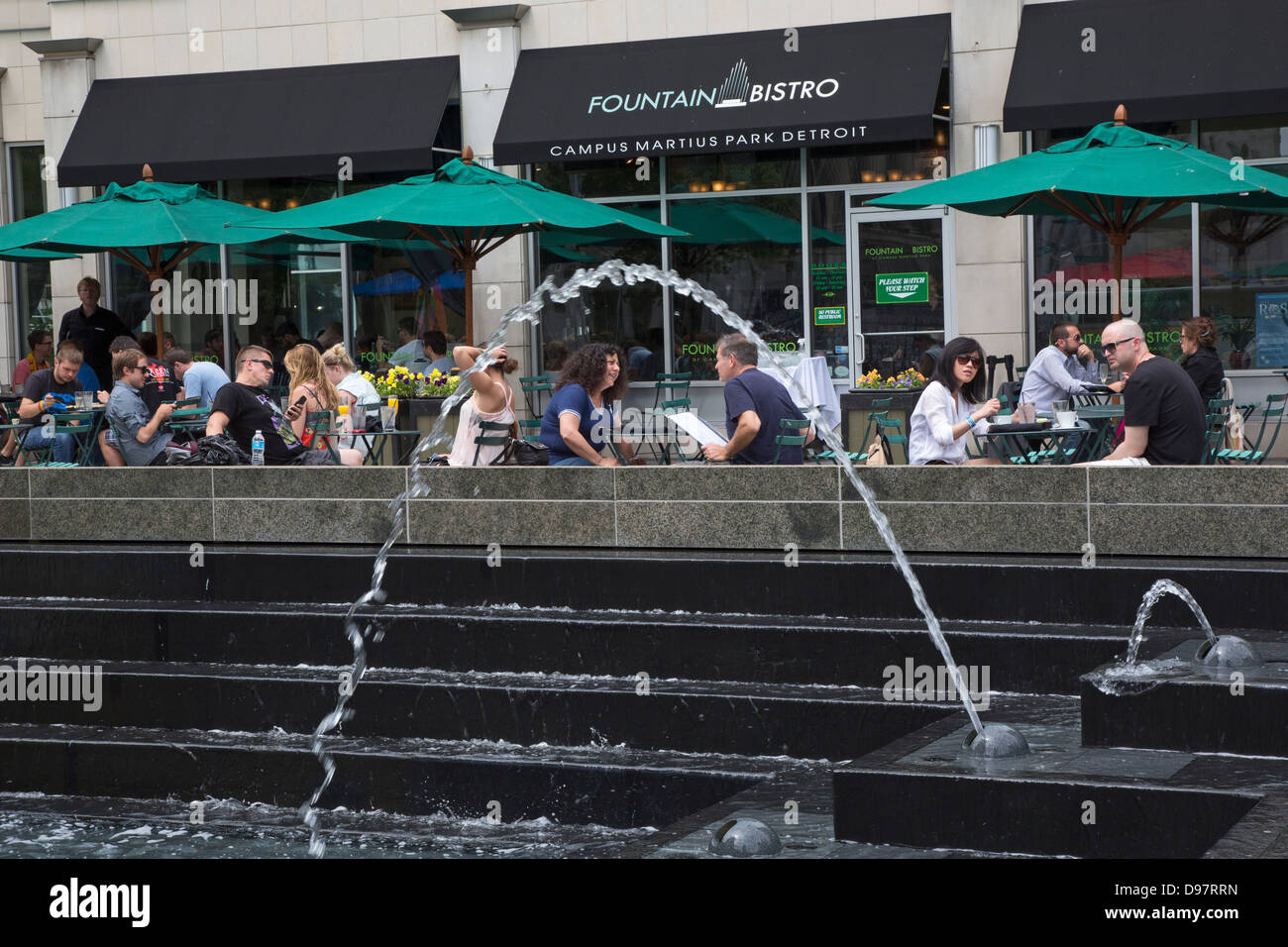 Detroit, Michigan - The Fountain Bistro restaurant in Campus Martius Park in the center of Detroit's financial - Stock Image