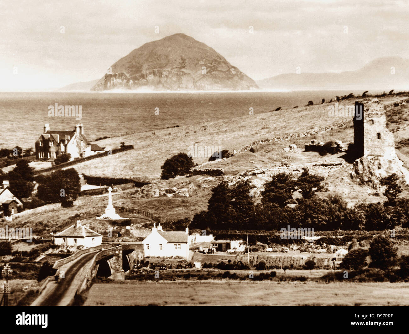 Ballantrae Bridgend and Ailsa Craig early 1900s - Stock Image