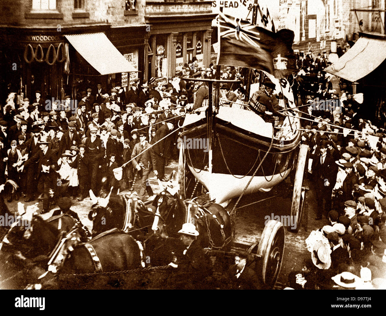 Barnsley Lifeboat procession in 1904 - Stock Image