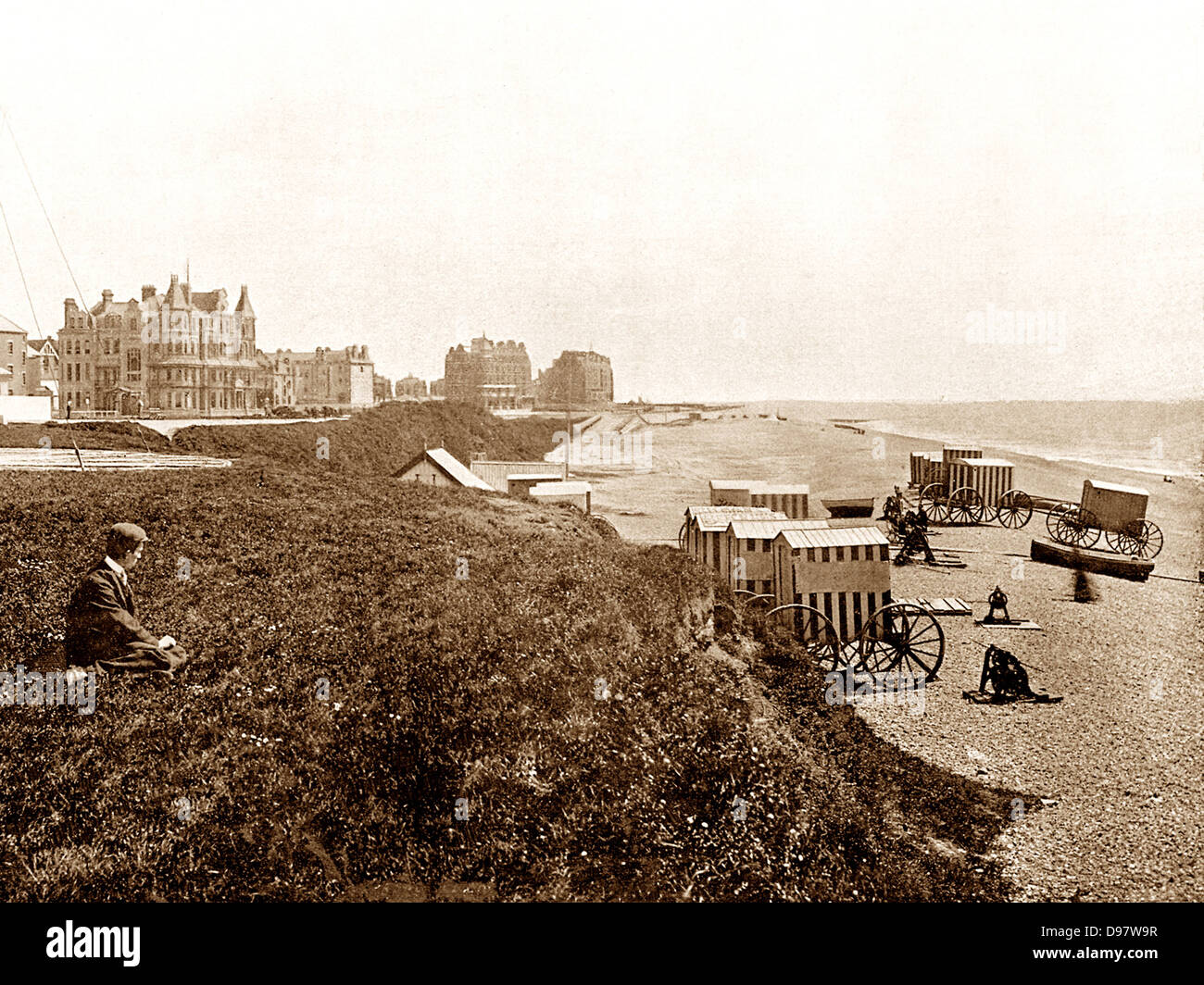 Bexhill-on-Sea Beach early 1900s - Stock Image