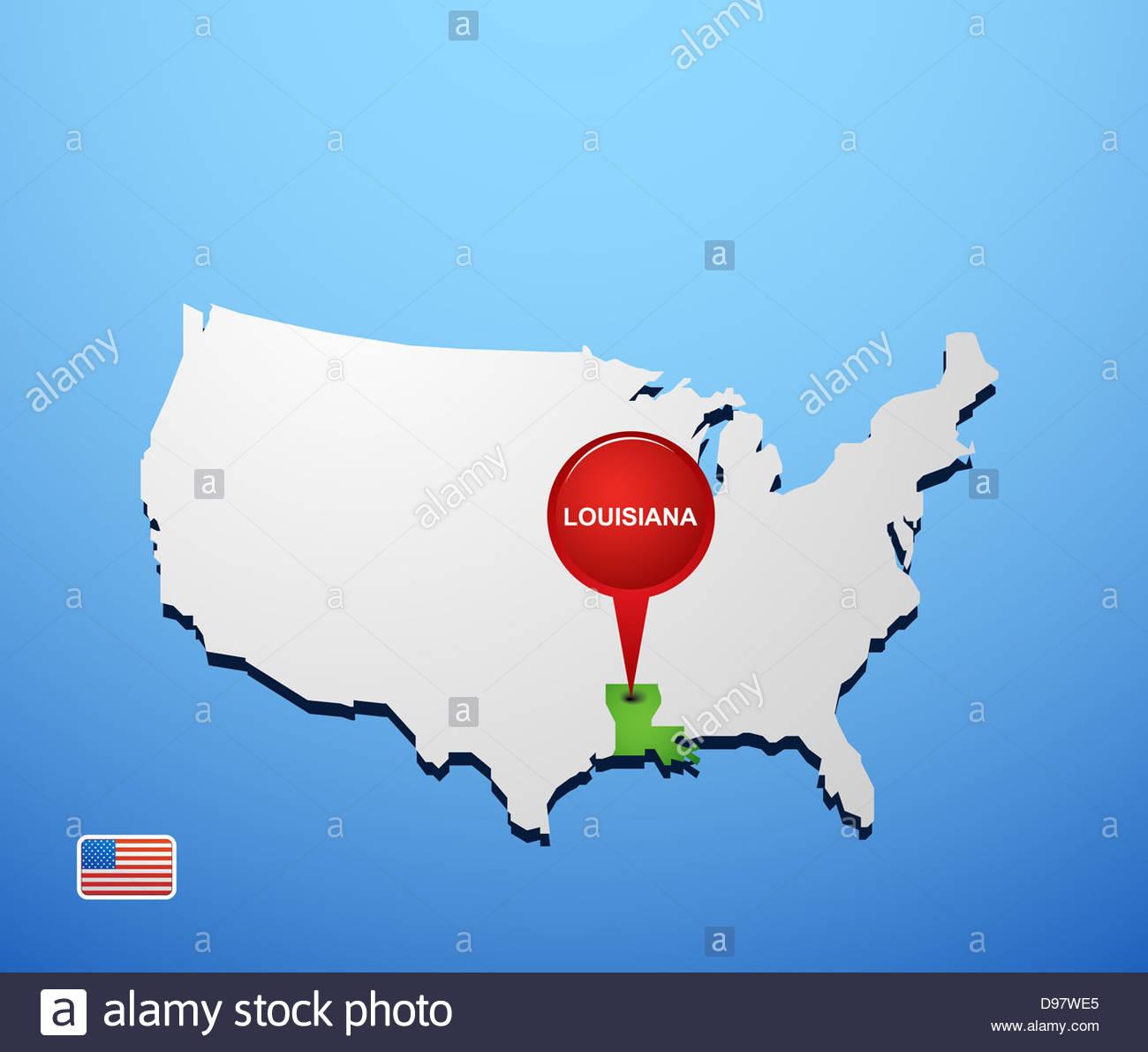 Louisiana On Usa Map Stock Photo 57336669 Alamy