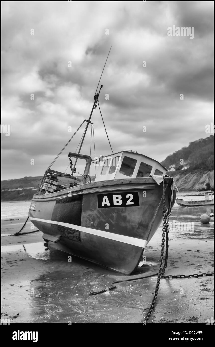 Fishing boat AB2 at New Quay Harbour West Wales ceredigion mono - Stock Image