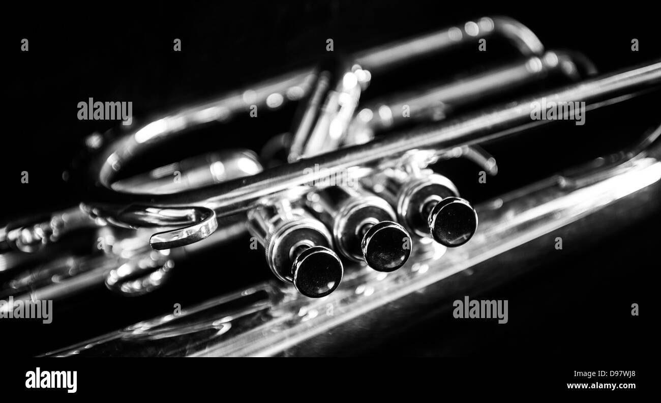 Three mellophone valves in black and white - Stock Image