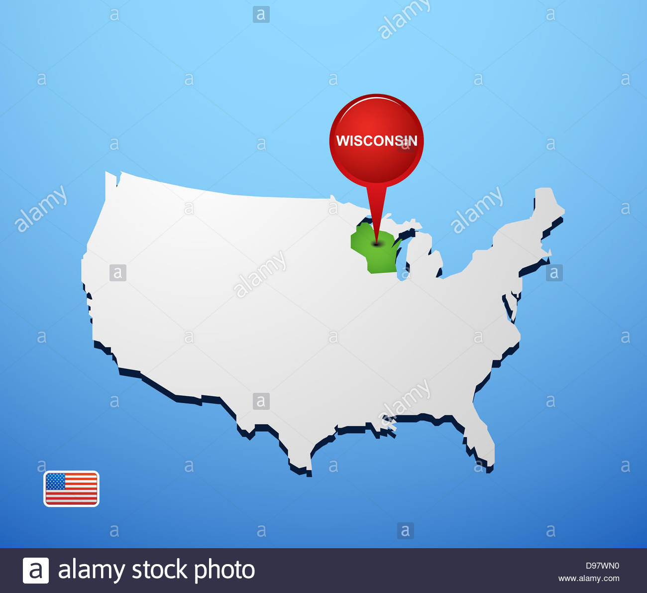 Wisconsin on USA map Stock Photo: 57336860 - Alamy on attleboro massachusetts on map, ann arbor michigan on map, bozeman montana on map, kenosha cowi map, kenosha wi, kenosha county map, huntsville alabama on map, portsmouth virginia on map, southeast wisconsin map, fargo north dakota on map, wisconsin county map, trout lake wisconsin map, everett washington on map, kenosha wisc, terre haute indiana on map, city of kenosha wisconsin map,