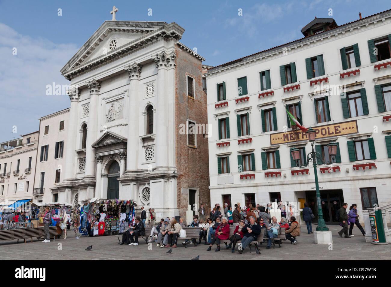 Hotel Metropole, Riva degli Schiavoni, Venice, Italy - Stock Image