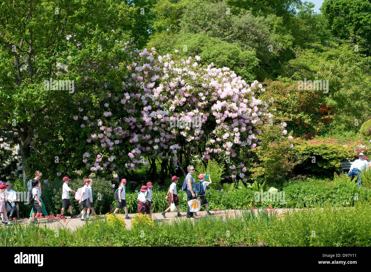 Group of schoolchildren in Wisley Garden, Surrey, UK - Stock Image