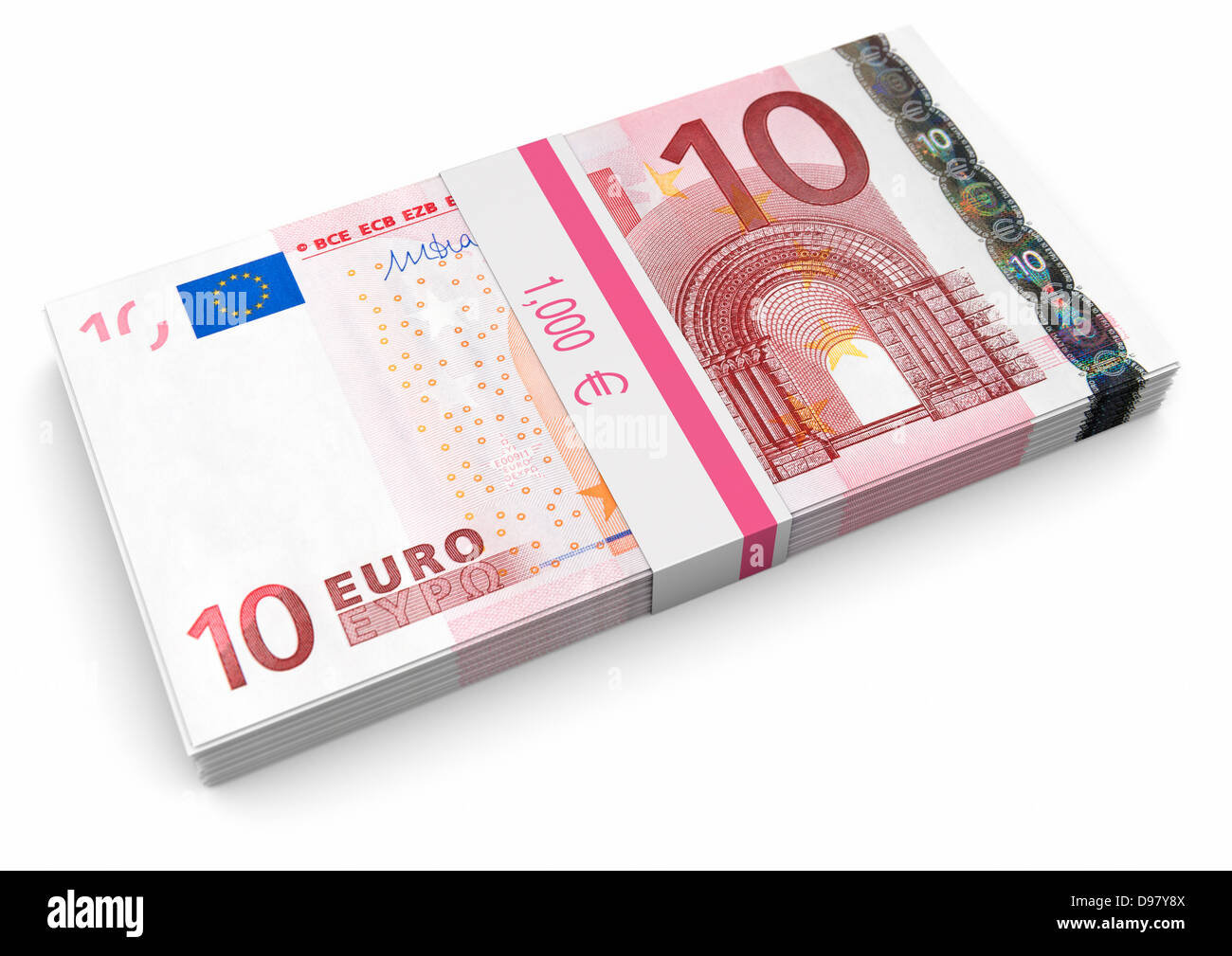 euro money 1000 euros in 10 notes on a white background stock