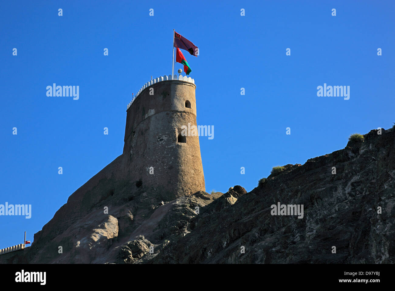 Military tower of the fort Mirani, Muscat, Oman Stock Photo