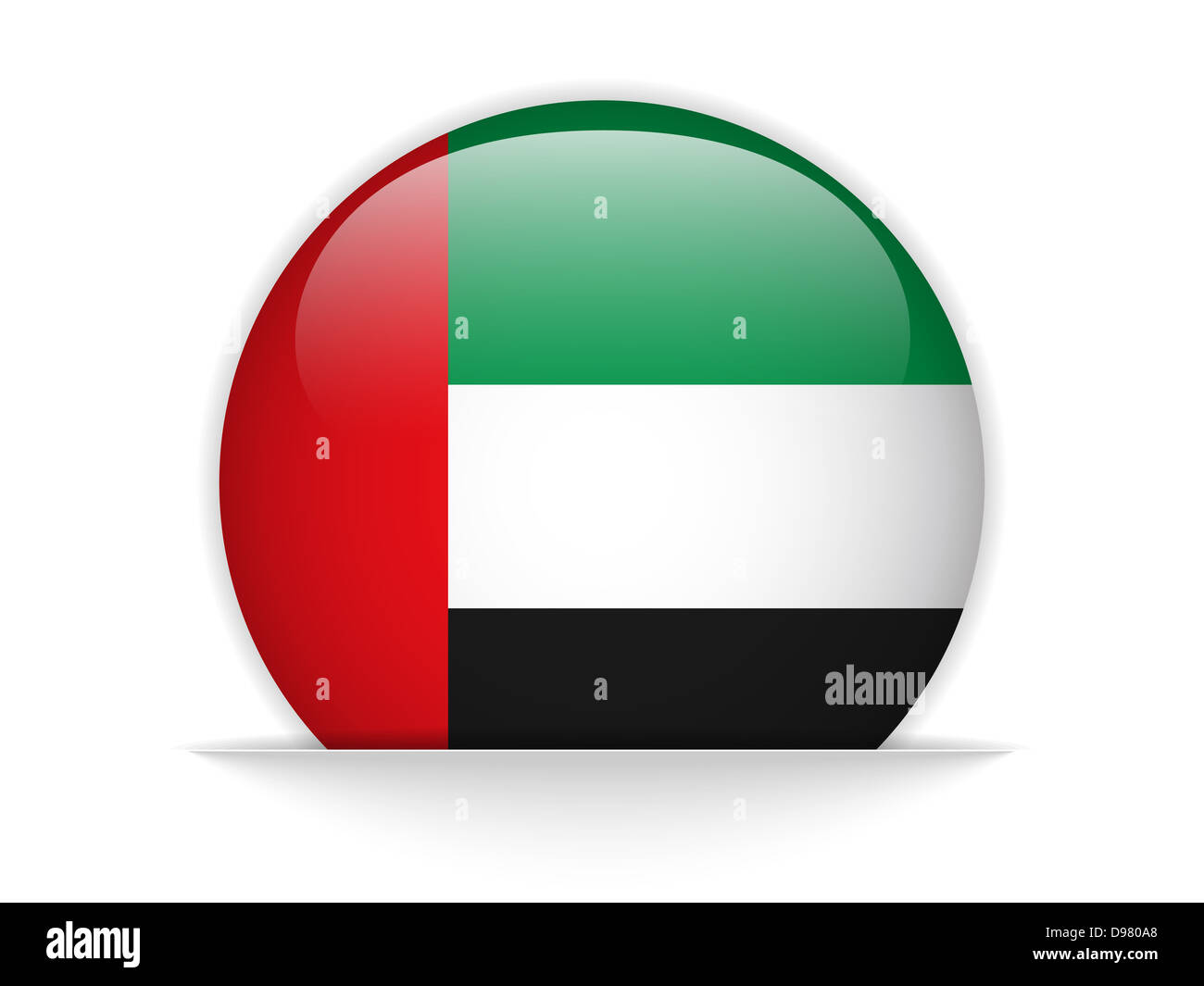 Vector - Emirates Flag Glossy Button - Stock Image