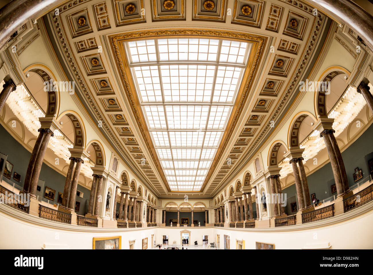 BRUSSELS, Belgium - Ceiling of the main hall at the Royal Museums of Fine Arts in Belgium (in French, Musées - Stock Image