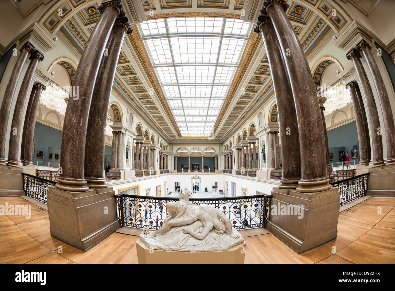 BRUSSELS, Belgium - Sculpture and columns at the Royal Museums of Fine Arts in Belgium (in French, Musées royaux - Stock Image