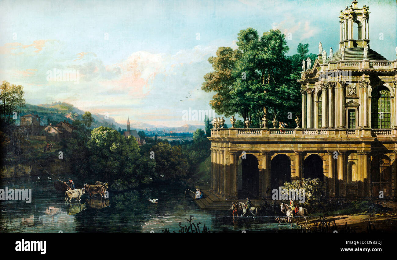 Bernardo Bellotto, called Canaletto, Architectural Caprice with a Palace 1765-1766 Oil on canvas. Bilbao Fine Arts Stock Photo