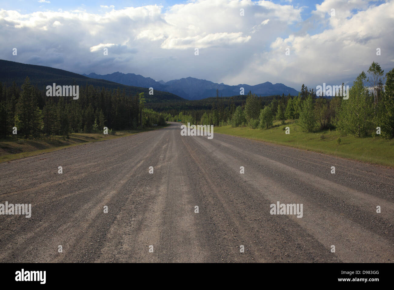 The dusty Powderface Trail road in Kananaskis Country in Alberta - Stock Image
