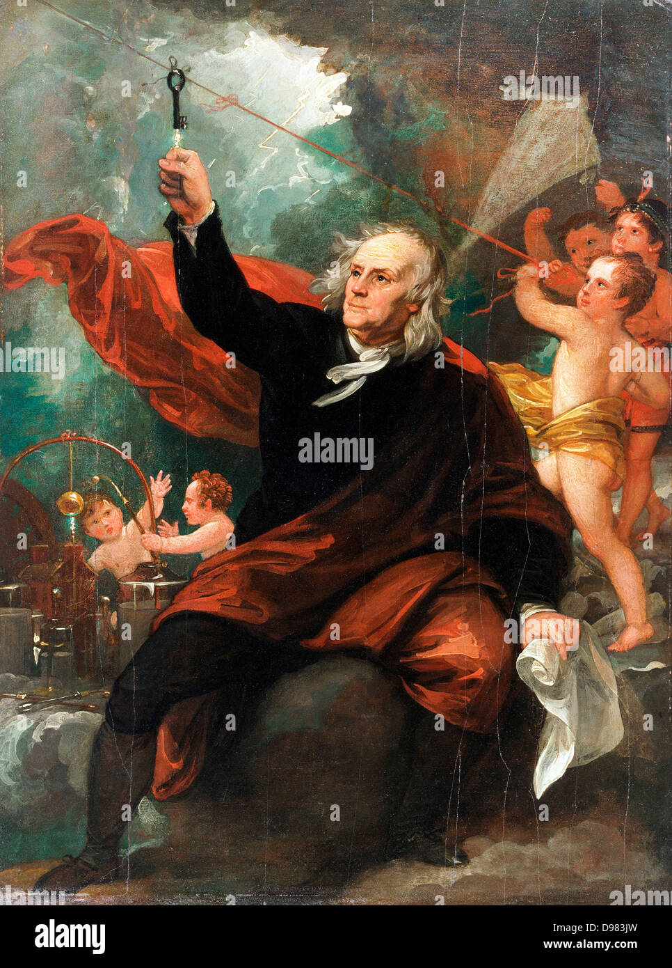Benjamin West, Benjamin Franklin Drawing Electricity from the Sky. Circa 1816. Oil on canvas. Philadelphia Museum - Stock Image