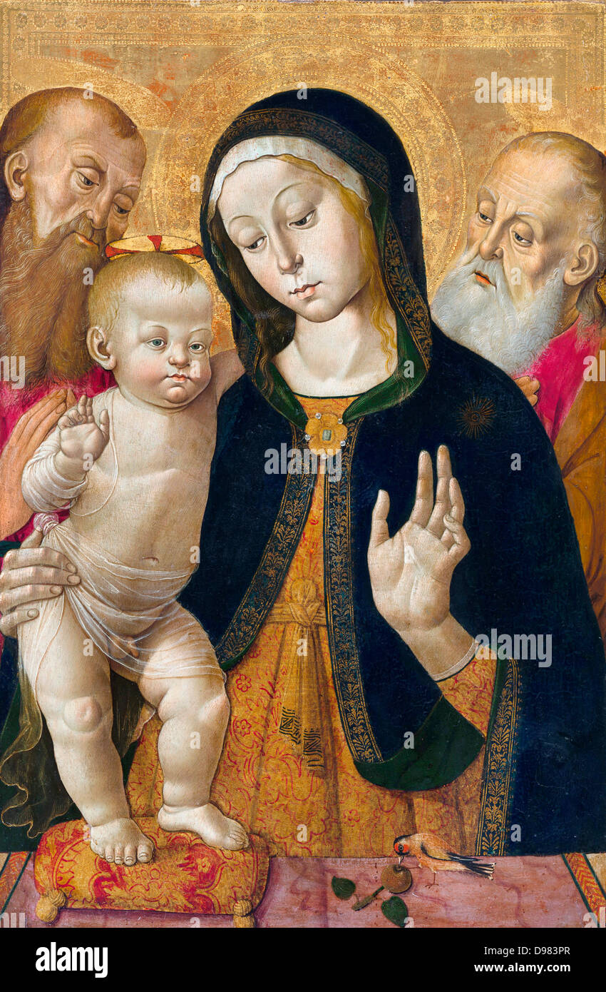 Bernardino Fungai, Madonna and Child with Two Hermit Saints. Early 1480s. Tempera on panel. The J. Paul Getty Museum. - Stock Image