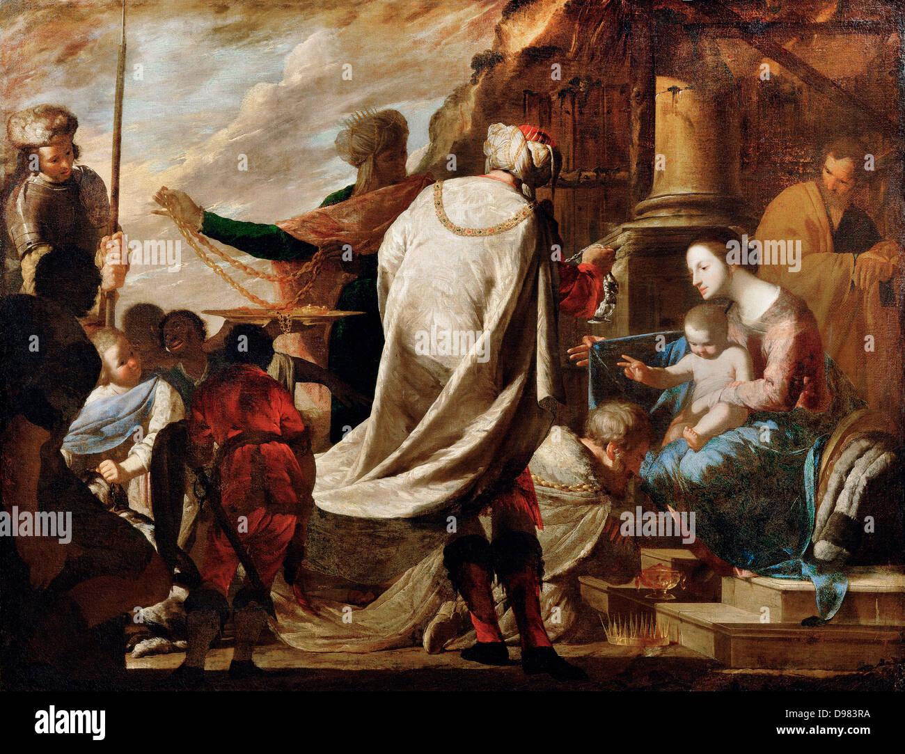 Bernardo Cavallino, Adoration of the Magi 1630 - 1656 Oil on canvas. Kunsthistorisches Museum, Vienna, Austria. - Stock Image