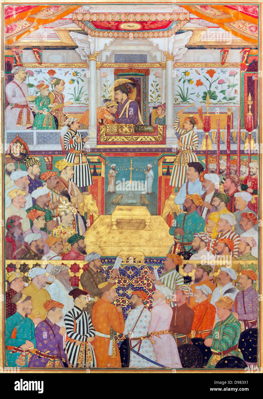 Bichitr, Padshahnama plate 10 : Shah-Jahan receives his three eldest sons and Asaf Khan during his accession ceremonies - Stock Image