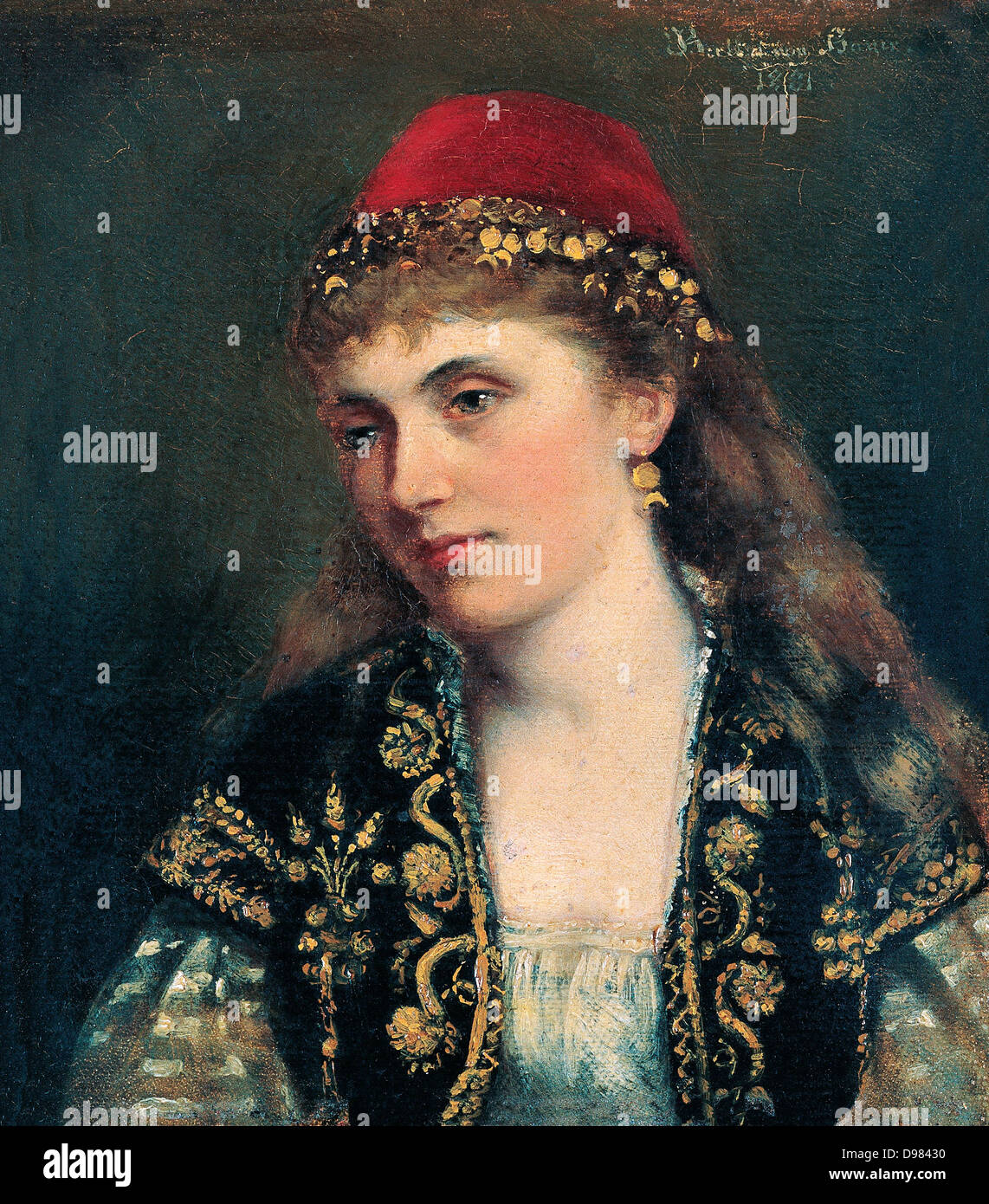Bertha von Bayer, Portrait of a Woman. 19th Century. Oil on canvas. Pera Museum, Istanbul. - Stock Image