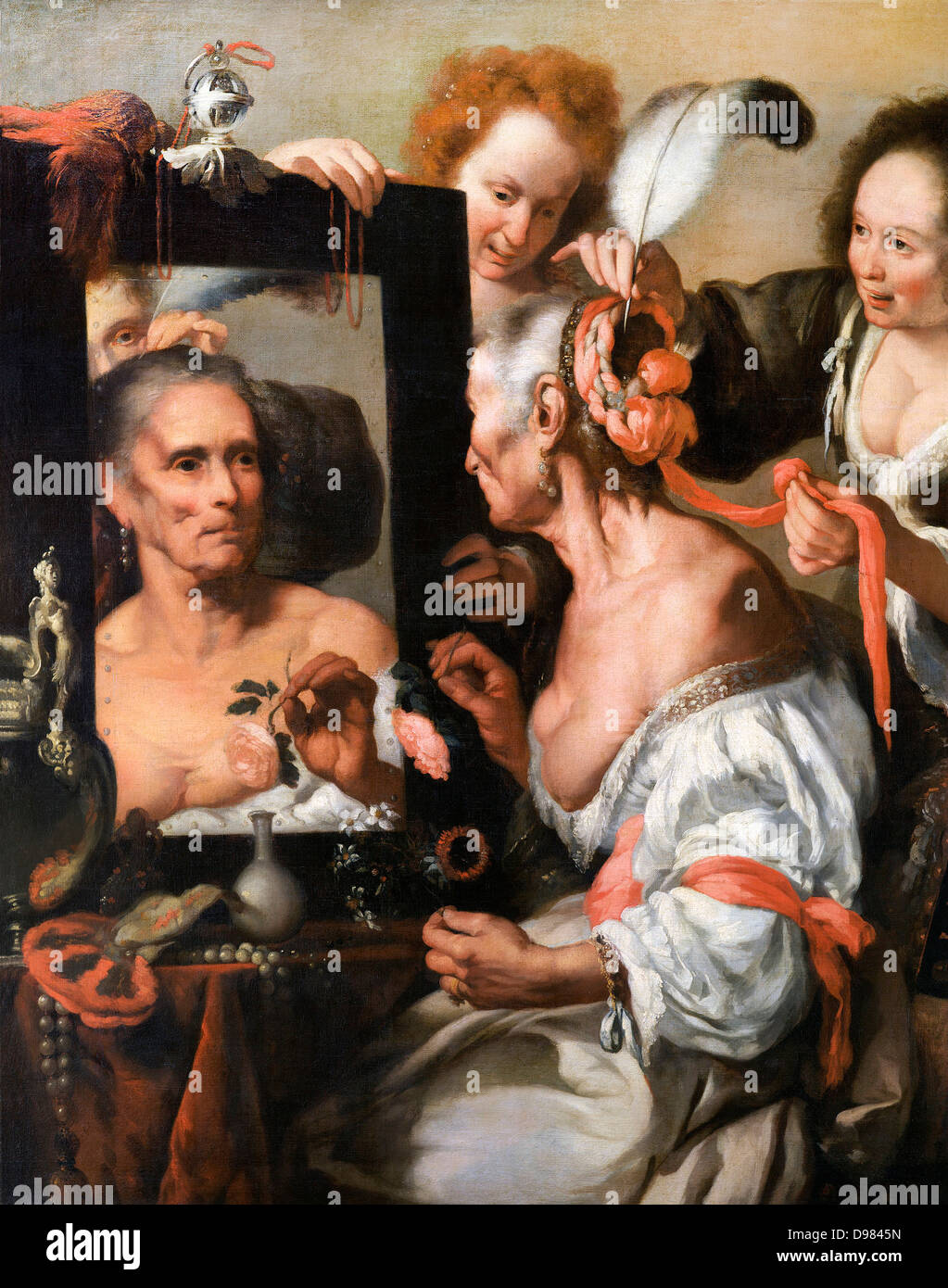 Bernardo Strozzi, Vanitas (Old Coquette). Circa 1637. Oil on canvas. Pushkin Museum, Moscow. - Stock Image