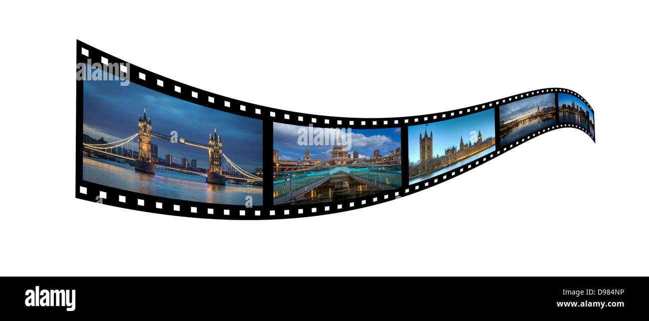 Film strip of London Siights - Stock Image