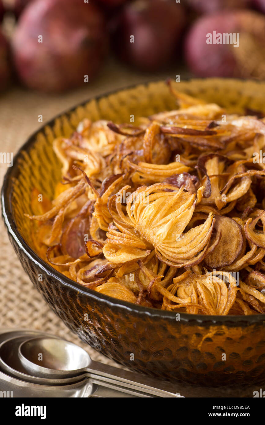 Fried Onion Flakes - Stock Image