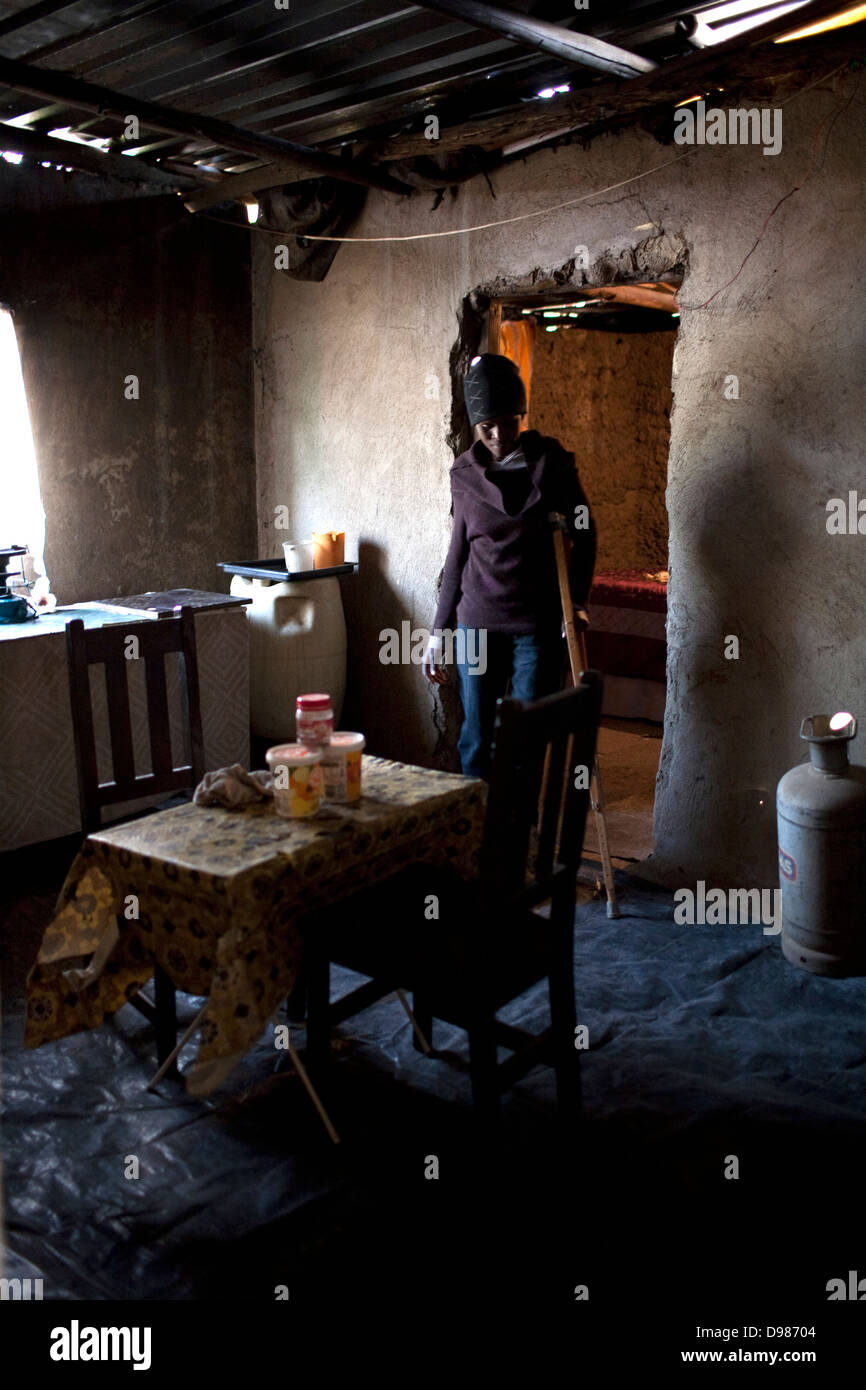 Amanda Nkosi 35-year-old single mother two in kitchen home in Mataffin in Nelspruit South Africa She was shot in - Stock Image