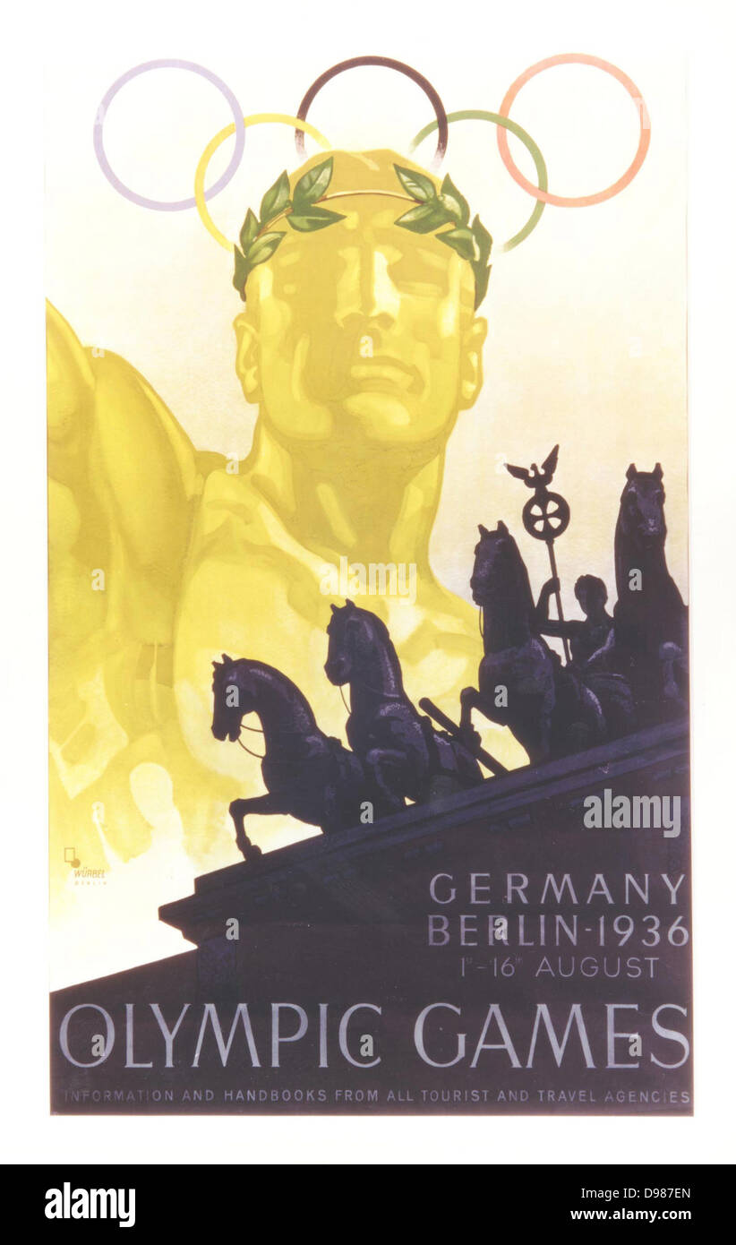 Poster for the Olympic Games in Berlin, Germany, August 1936. Stock Photo