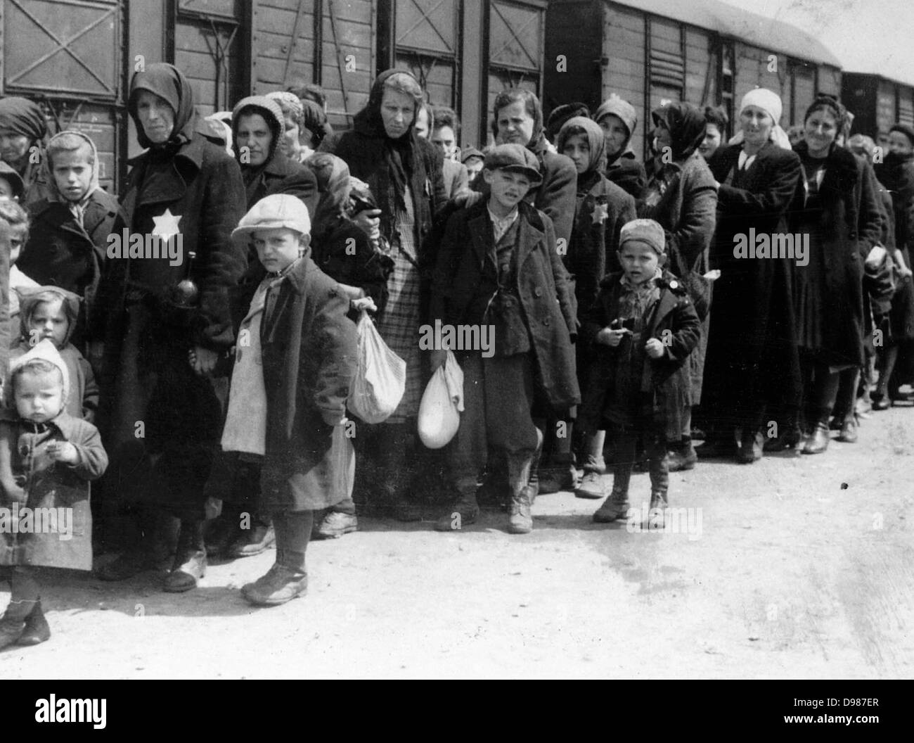 Arrival of a train containing Jews deported to Auschwitz death camp in Poland. Auschwitz-Birkenau (1940-1945) was - Stock Image