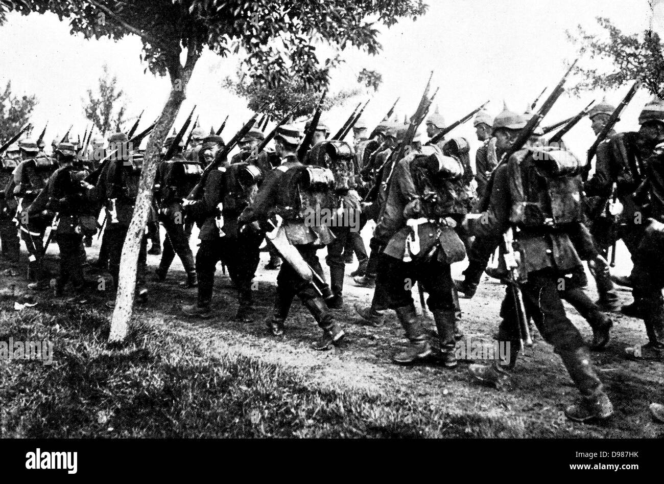 German infantry on the march. - Stock Image