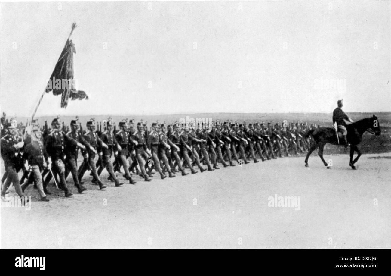Austrian infantry on dress parade. - Stock Image