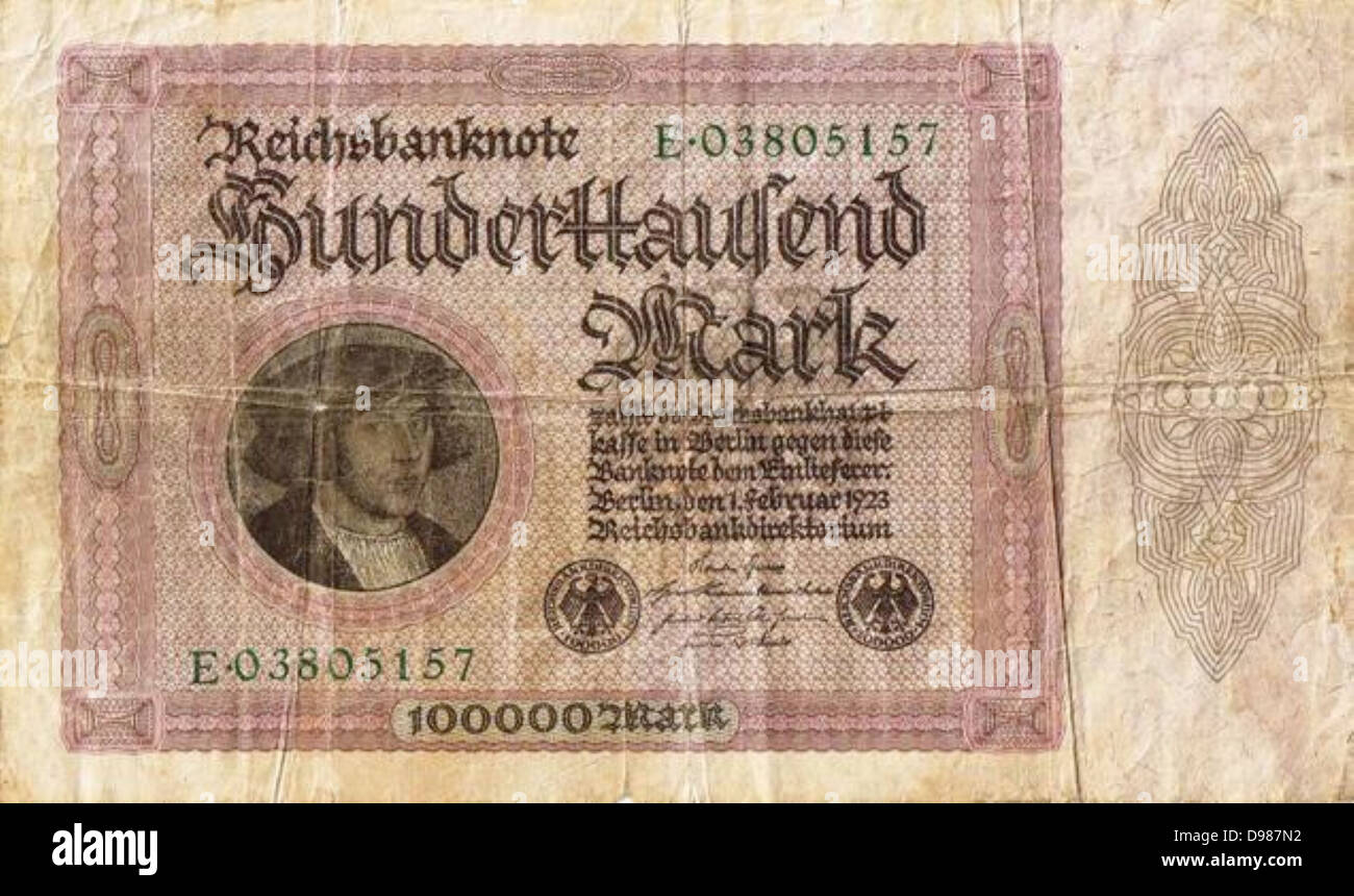 Hyperinflation in Germany after World War I. Hundred thousand Reichsmark note, 1923. - Stock Image