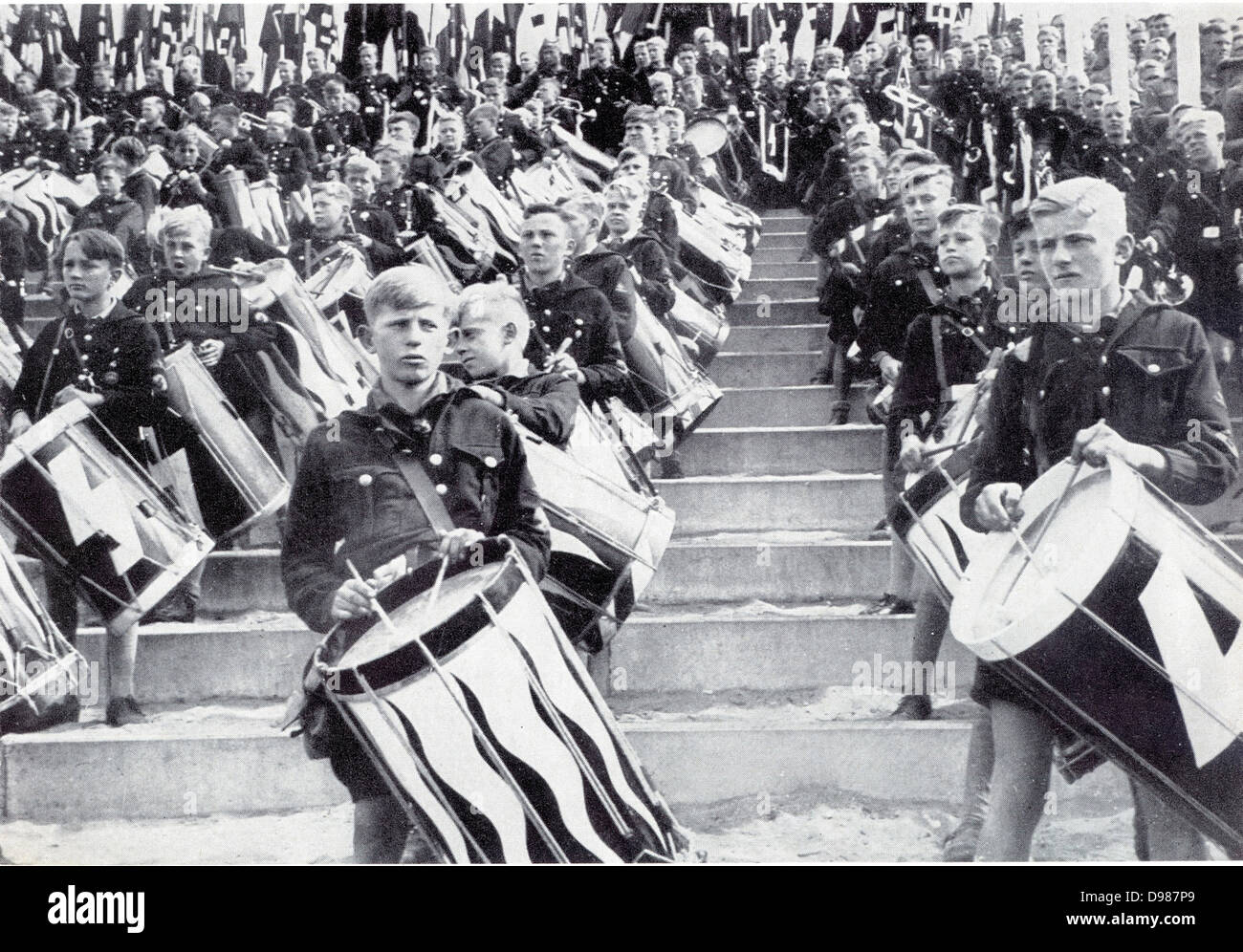 Hitler Youth at a Nazi rally, 1930s. Massed band of boy drummers. - Stock Image