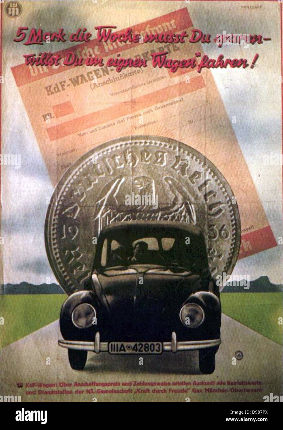 Late 1930s poster advertising Volkswagen, the People's Car. The text: 'Save 5 marks a week and you will - Stock Image