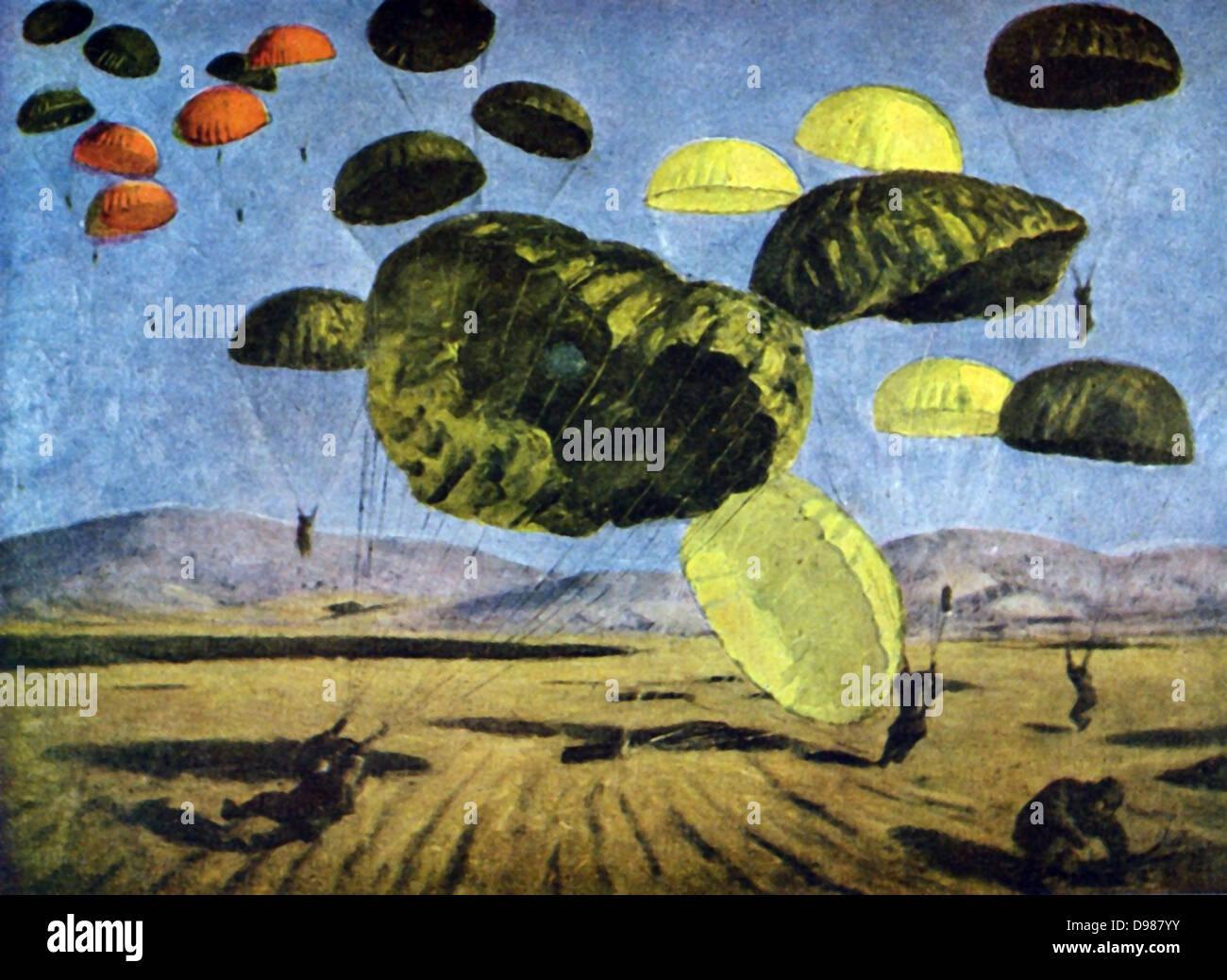 Parachute Drop by Henry Carr (1894-1970).  (Colour) - Stock Image