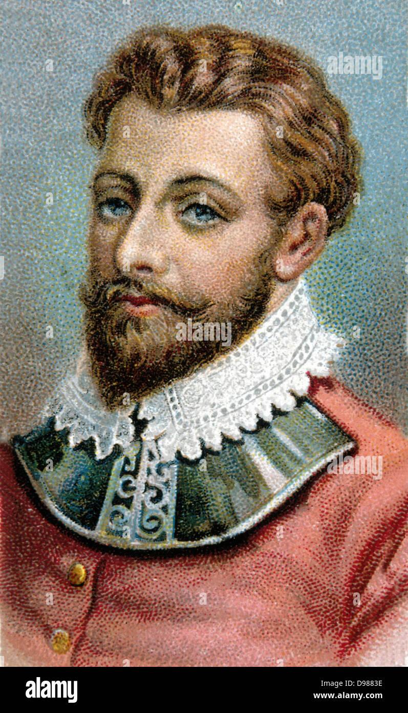 Francis Drake (c1540-1596) English navigator and privateer. Chromolithograph. - Stock Image