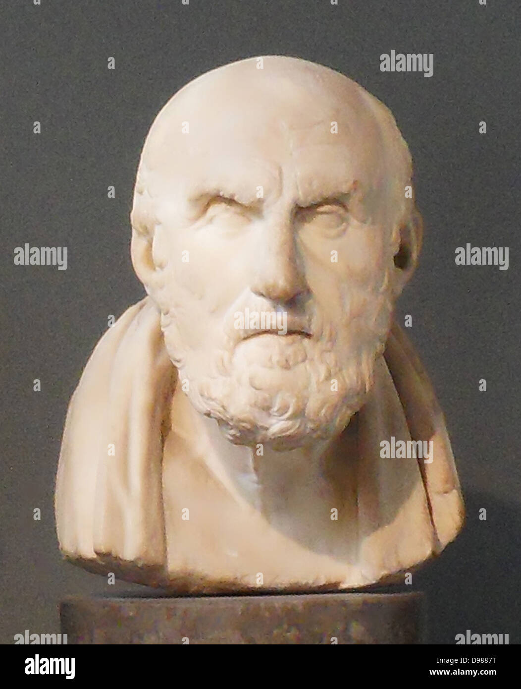 Roman copy of a Hellenistic bust of Chrysippus of Soli c. 279–c. 206 BC. Greek Stoic philosopher. He was a pupil - Stock Image