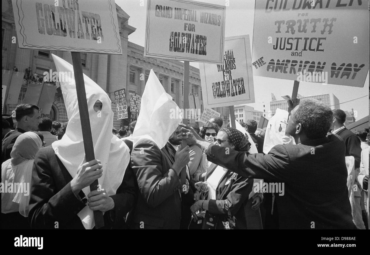 Ku Klux Klan members supporting Barry Goldwater's campaign for the presidential nomination at the Republican - Stock Image