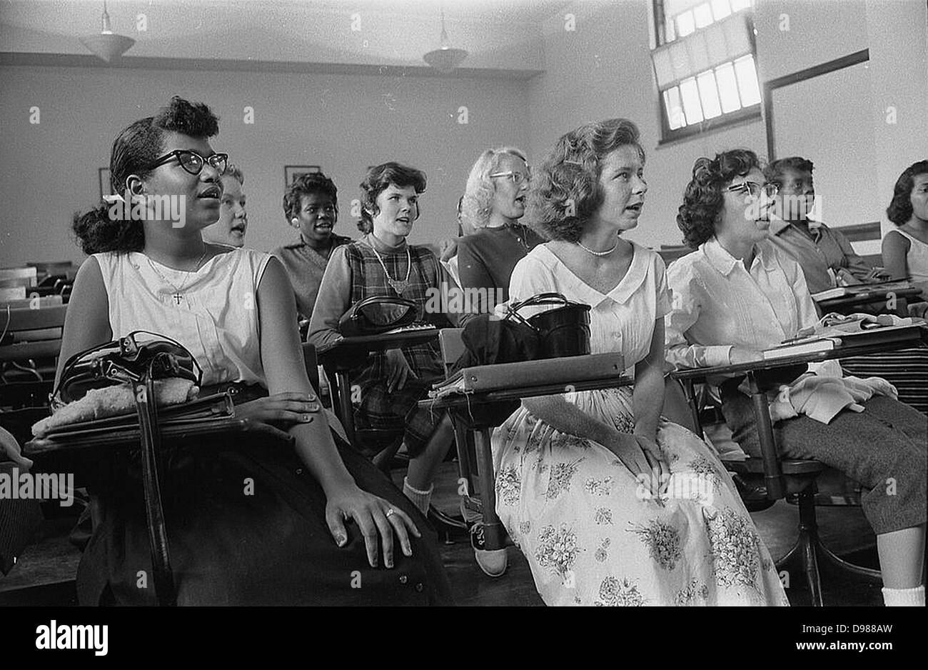 Integrated classroom at Anacostia High School, Washington, D.C., USA. 10 September 1957. Photographer: Warren K Stock Photo