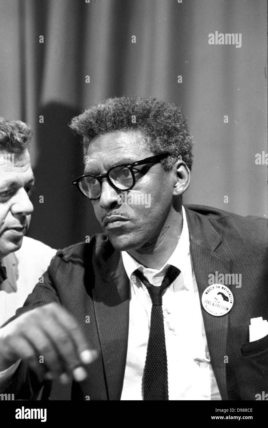 Bayard Rustin (1912-1987), American civil rights activist. Rustin in the Statler Hotel at a news briefing on the - Stock Image