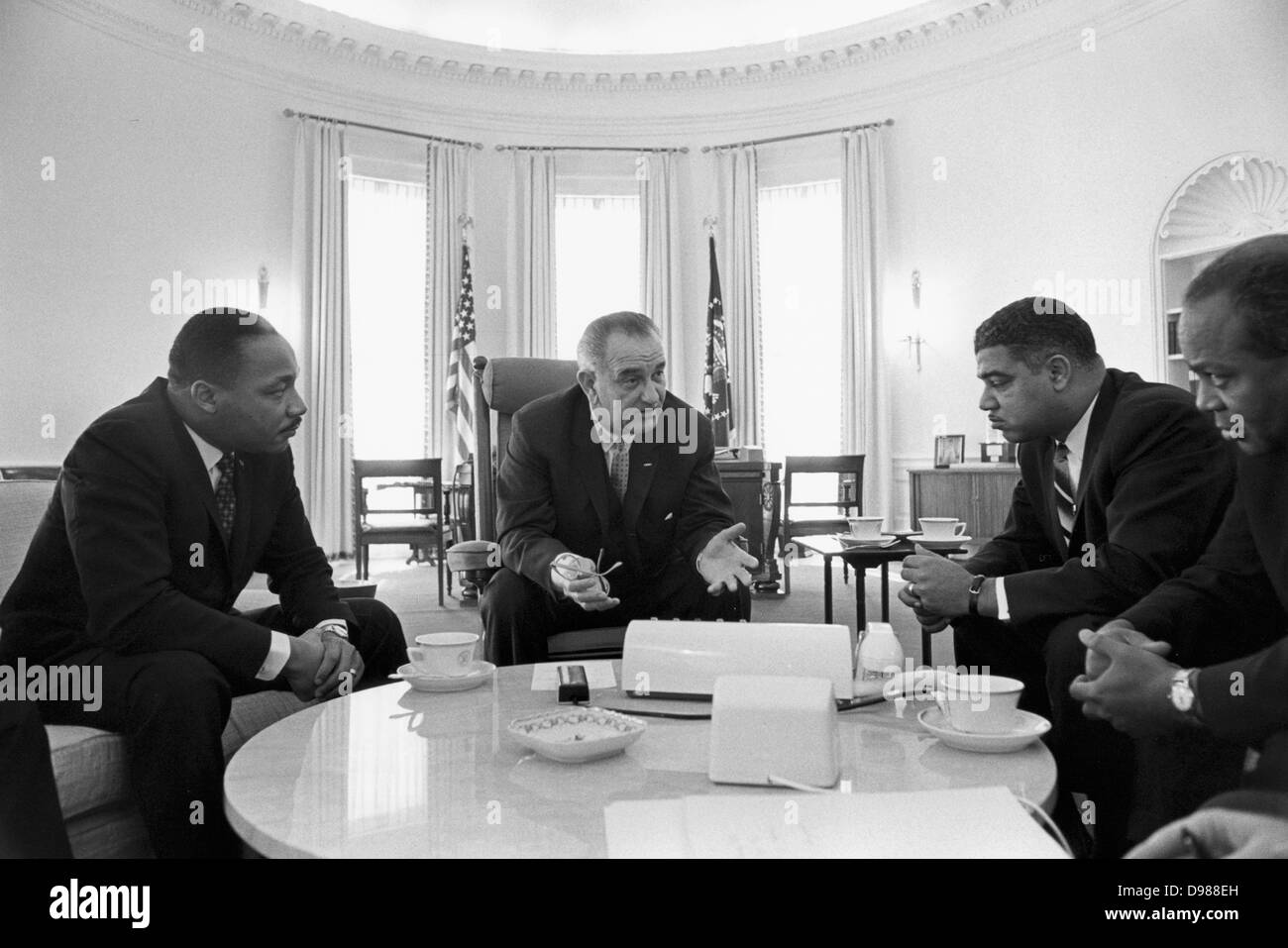 Lyndon Baines Johnson (1908-1973) 36th President of the United States in talks with Civil Rights leaders in the - Stock Image