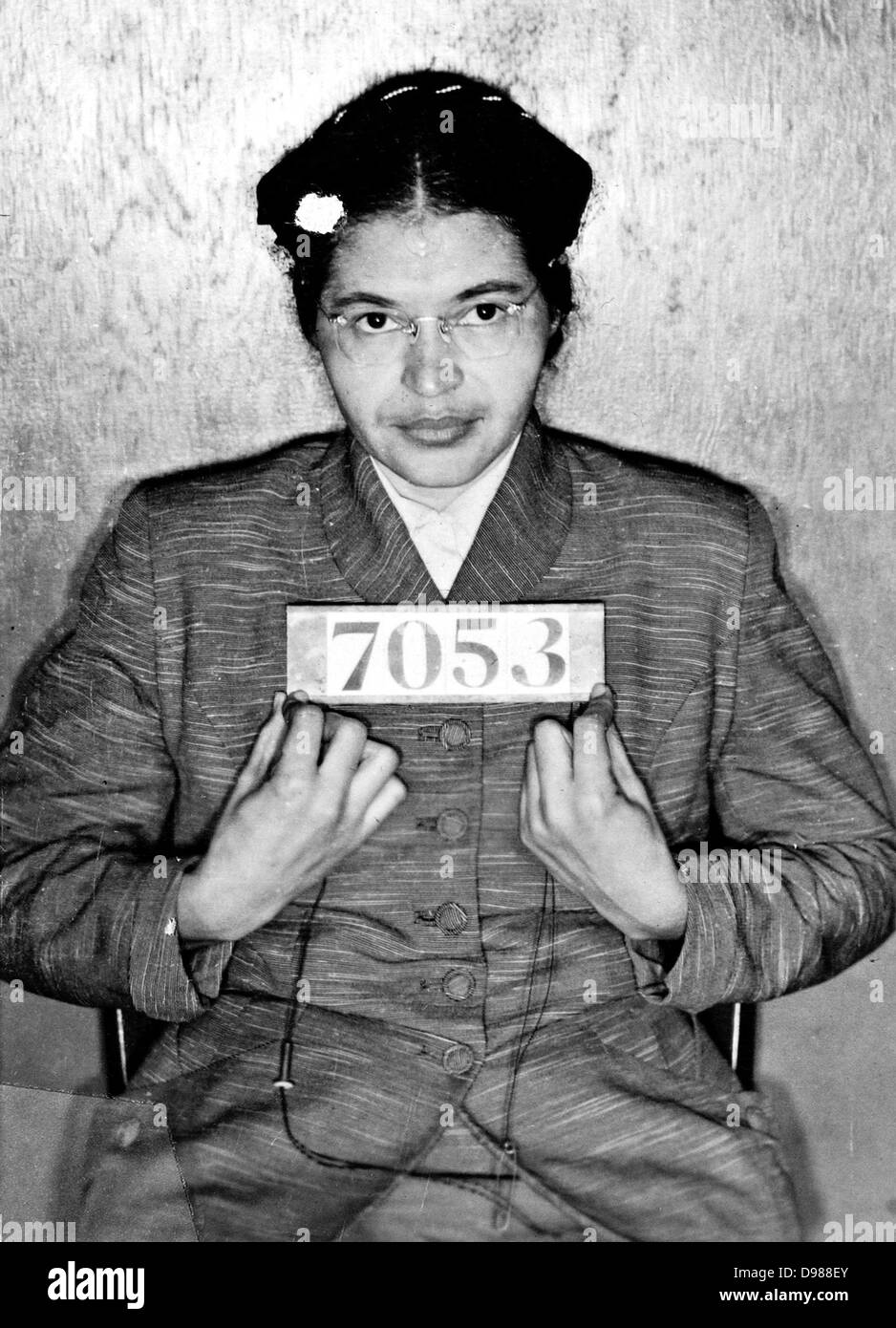 Rosa Louise McCauley Parks (1913-2005), American Civil Rights activist. Booking photo taken at the time of her arrest Stock Photo