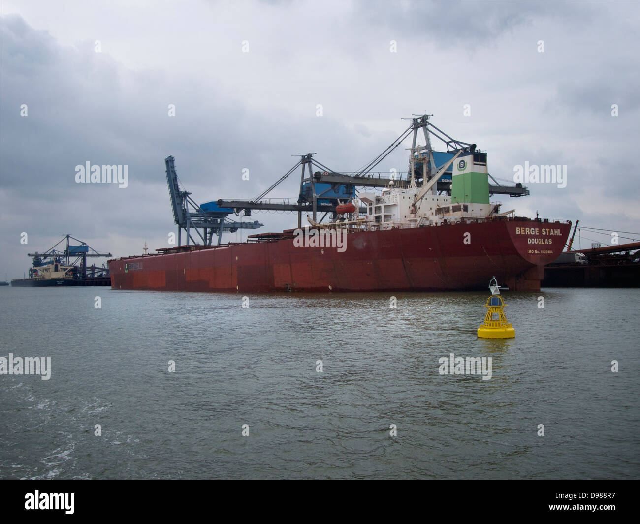 the Berge Stahl bulkcarrier in the port of Rotterdam, the Netherlands. Stock Photo