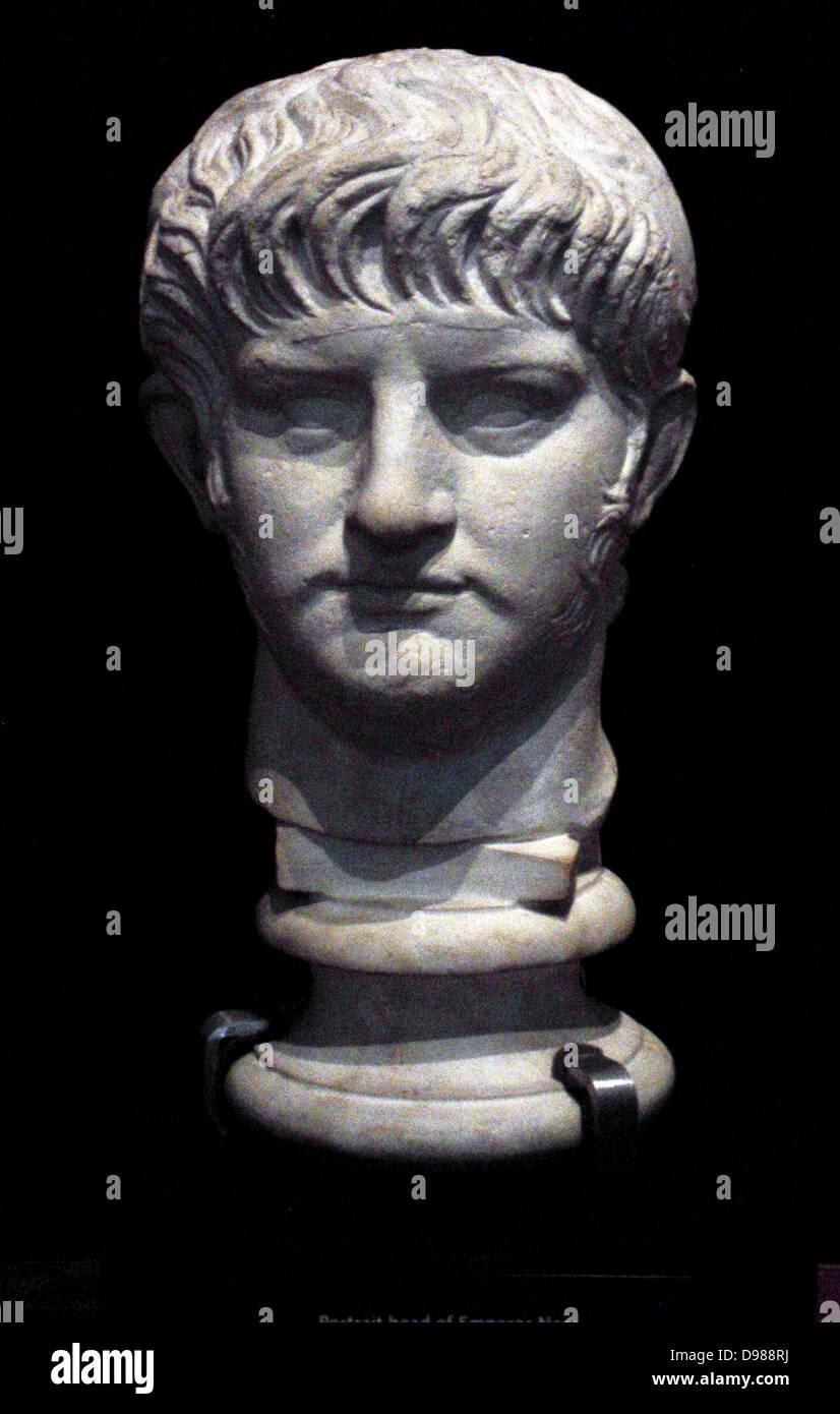 Portrait Head of Roman Emperor Nero circa AD 59-64. Nero Claudius Caesar Augustus Germanicus (15 December AD 37 - Stock Image