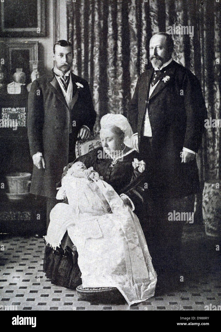 Four generations of British monarchs, 1894. Queen Victoria holding infant future Edward VIII, flanked by, right, - Stock Image